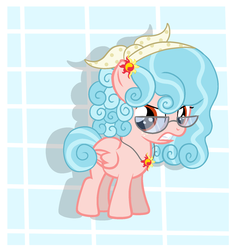 Size: 1577x1661 | Tagged: alternate hairstyle, alternate universe, artist:pastelovaartspl, cozy glow, female, glasses, jewelry, pegasus, pendant, pony, safe, solo