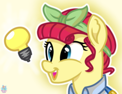 Size: 1911x1466 | Tagged: safe, artist:rainbow eevee, torque wrench, pony, rainbow roadtrip, atg 2019, bandana, bust, button, cute, female, idea, inanimate object, lightbulb, lightbulb (inanimate insanity), mare, newbie artist training grounds, open mouth, overalls, simple background, smiling, solo, yellow background