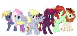 Size: 2341x1103 | Tagged: alicorn, alicornified, alternate mane six, alternate universe, amputee, applejack's hat, artist:moonlightdisney5, autumn blaze, candy apples, cowboy hat, derpy hooves, earth pony, fizzlepop berrytwist, fizzleverse, freckles, hat, kerfuffle, kirin, pegasus, prosthetic limb, prosthetics, race swap, safe, star tracker, tempest gets her horn back, tempest gets her wings back, tempest shadow, underp