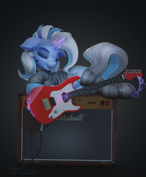 Size: 1104x1335 | Tagged: alternate hairstyle, artist:v747, clothes, ear piercing, earring, eyes closed, female, floppy ears, guitar, jewelry, magic, mare, piercing, pony, safe, socks, striped socks, telekinesis, trixie, unicorn