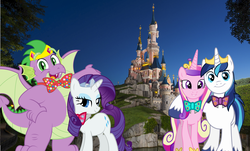 Size: 7328x4433 | Tagged: alicorn, artist:disneymarvel96, bowtie, castle, crown, disney, disneyland, disneyland paris, disney princess, dragon, dragons in real life, fat, fat spike, female, jewelry, male, princess cadance, rarity, regalia, safe, shining armor, shiningcadance, shipping, sparity, spike, straight, tiara, unicorn