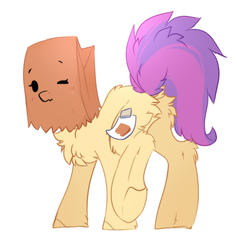Size: 964x1018 | Tagged: safe, artist:php146, oc, oc only, oc:paper bag, earth pony, pony, blushing, butt, butt fluff, chest fluff, cute, female, fluffy, mare, ocbetes, paper bag, plot, simple background, sketch-fluffy's fluffy butts, solo, white background