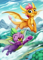 Size: 917x1280 | Tagged: safe, artist:zazush-una, smolder, spike, dragon, cloud, cute, dragoness, duo, fangs, female, flying, happy, male, open mouth, outdoors, sky, smiling, smolderbetes, spikabetes, winged spike
