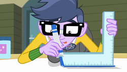 Size: 1280x720 | Tagged: a banner day, clothes, equestria girls, friendship games, glasses, male, marker, microchips, ruler, safe, screencap, solo