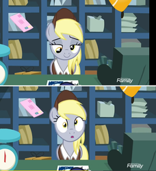 Size: 744x816 | Tagged: between dark and dawn, cash register, derpy hooves, female, letter, mailmare, mailmare uniform, :o, open mouth, pegasus, postcard, realization, safe, screencap, solo, spoiler:s09e13, weighing scale