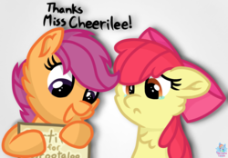 Size: 1445x1003 | Tagged: adorabloom, apple bloom, artist:rainbow eevee, atg 2019, award, bad luck, bow, certificate, cute, cutealoo, dialogue, female, filly, floppy ears, happy, lucky bastard, newbie artist training grounds, paper, pony, sad, safe, scootaloo, shadow, simple background, teary eyes, white background