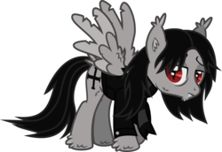 Size: 1237x850 | Tagged: artist:lightningbolt, bags under eyes, butt fluff, clothes, derpibooru exclusive, ear fluff, fangs, gerard way, hoof fluff, jacket, lidded eyes, male, my chemical romance, pegasus, ponified, pony, raised hoof, safe, scarf, simple background, slit eyes, solo, stallion, svg, .svg available, tail feathers, tattered, tattered wings, transparent background, vampire, vector, wing fluff, wings