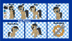 Size: 1920x1080 | Tagged: artist:thunder-blur, earth pony, oc, oc:cogs fixmore, oc only, pony, reference sheet, safe