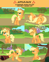 Size: 2136x2726 | Tagged: alternate hairstyle, applejack, artist:nightmaremoons, ask, ask pun, mane swap, pony, safe, solo