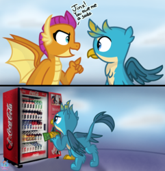 Size: 1924x2000 | Tagged: artist:rainbow eevee, atg 2019, beak, cash, cloud, cloudy, coca-cola, comic, cute, dialogue, dollar, dollar sign, dragon, dragoness, drink, duo, female, gallabetes, gallus, gallus is not amused, griffon, irl, male, money, newbie artist training grounds, open mouth, photo, pointing, regular show, safe, simple background, smolder, smolderbetes, soda, spread wings, talking, vending machine, wings