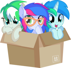 Size: 7312x6969 | Tagged: safe, artist:cyanlightning, oc, oc:azure lightning, oc:cyan lightning, oc:emerald lightning, pegasus, pony, unicorn, .svg available, absurd resolution, blushing, box, brother and sister, clothes, colt, cute, ear fluff, female, filly, glasses, lidded eyes, male, ocbetes, open mouth, pony in a box, scarf, siblings, simple background, smiling, transparent background, trio, vector