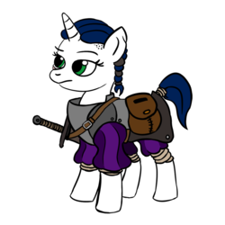 Size: 900x900 | Tagged: adventurer, armor, artist:velgarn, braid, female, mare, oc, oc only, pony, rpg, saddle bag, safe, scar, seeds of harmony, simple background, solo, spellsword, sword, unicorn, weapon, white background
