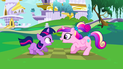 Size: 1280x720 | Tagged: a canterlot wedding, crouching, duo, female, filly, filly twilight sparkle, looking at each other, open mouth, pony, princess cadance, safe, screencap, sunshine sunshine, teen princess cadance, twilight sparkle, younger