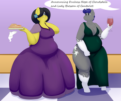 Size: 3000x2500 | Tagged: safe, artist:lupin quill, oc, oc only, oc:midnight blossom, oc:reia hope, bat pony, anthro, unguligrade anthro, series:the gluttonous gala (weight gain), alcohol, bat anthro pony, bat pony oc, bbw, belly, big belly, big breasts, breasts, chubby, cleavage, clothes, dialogue, dress, fat, flower, flower in hair, food, freckles, glass, grand galloping gala, hand, magic, magic hands, red wine, sandwich, sequence, thighs, this will end in weight gain, thunder thighs, weight gain, weight gain sequence, wine, wine glass