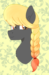 Size: 882x1331 | Tagged: safe, artist:dyonys, oc, oc:sunrise hope, earth pony, pony, braid, bust, female, fluffy, ombre hair, simple background, smiling