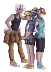 Size: 3507x4960 | Tagged: armpits, artist:kikirdcz, clothes, converse, gilda, human, humanized, interspecies offspring, magical lesbian spawn, mom gilda, oc, oc:rainbow feather, offspring, parent:gilda, parent:rainbow dash, parents:gildash, rainbow dash, safe, shoes, shorts, simple background, sneakers, transparent background, trio