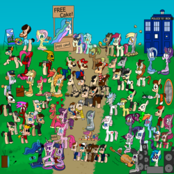 Size: 5000x5000 | Tagged: apple bloom, applejack, artist:rainbowbacon1, autumn blaze, back to the future, baldi's basics in education and learning, big macintosh, bob ross, bon bon, bright mac, calvin and hobbes, deadpool, derpy hooves, dj pon-3, doctor who, doctor whooves, fluttershy, fringe, ghostbusters, gravity falls, harry potter, hello, home alone, lyra heartstrings, mane six, marble pie, mythbusters, nom, nurse redheart, octavia melody, pear butter, pinkamena diane pie, pinkie pie, portal (valve), princess cadance, princess celestia, princess luna, rainbow dash, rarity, rick and morty, roseluck, safe, scootaloo, scout, stan lee, starlight glimmer, stranger things, sugar belle, super mario bros., sweetie belle, sweetie drops, tardis, team fortress 2, the phantom of the opera, the rocketeer, time turner, trixie, twilight sparkle, vinyl scratch, where's waldo
