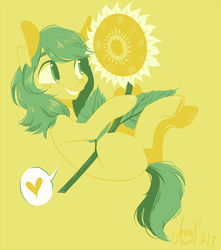 Size: 500x565 | Tagged: safe, artist:laceymod, oc, oc:invidia, earth pony, pony, female, flower, limited palette, mare, solo, sunflower