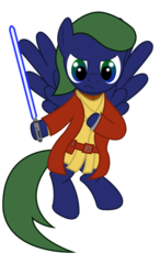 Size: 684x1169 | Tagged: artist:amacuse, floating, lightsaber, oc, oc:cayden tavers, pegasus, pony, robes, safe, star wars, weapon