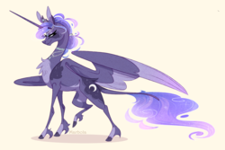 Size: 2544x1702   Tagged: safe, artist:marbola, princess luna, alicorn, pony, alternate design, chest fluff, female, jewelry, leonine tail, mare, necklace, pale belly, queen, simple background, solo, spread wings, unshorn fetlocks, wings