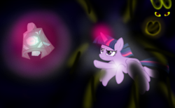 Size: 1300x800 | Tagged: safe, artist:katya, grogar, twilight sparkle, alicorn, bell, dark magic, darkness, eye, eyes, fake, fake screencap, grogar's bell, magic, series finale, twilight sparkle (alicorn), vector