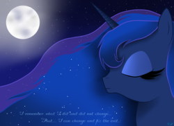 Size: 2338x1700 | Tagged: safe, artist:victoria-luna, princess luna, alicorn, pony, eyes closed, flowing mane, moon, sad, smiling, text