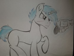 Size: 2016x1512   Tagged: safe, artist:straighttothepointstudio, oc, oc only, oc:snowy blue, pony, unicorn, angry, colored, gun, handgun, revolver, solo, traditional art, weapon
