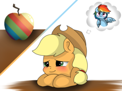 Size: 2048x1536 | Tagged: safe, artist:valiantstar00, applejack, rainbow dash, earth pony, pegasus, pony, apple, appledash, blushing, bust, daydream, female, food, lesbian, mare, one wing out, shipping, simple background, smiling, thought bubble, white background, wings, zap apple