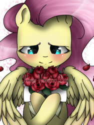 Size: 1536x2048   Tagged: safe, artist:valiantstar00, fluttershy, pegasus, pony, blushing, bouquet, crossed hooves, female, flower, holiday, mare, petals, rose, simple background, smiling, solo, valentine's day, white background