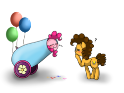 Size: 2048x1536   Tagged: safe, artist:valiantstar00, cheese sandwich, pinkie pie, earth pony, pony, balloon, blushing, colt, cutie mark, duo, female, filly, filly pinkie pie, glasses, male, onomatopoeia, party cannon, question mark, sleeping, sound effects, younger, zzz