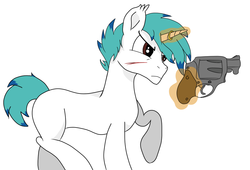 Size: 2500x1700   Tagged: safe, artist:inky scroll, artist:straighttothepointstudio, oc, oc only, oc:snowy blue, pony, unicorn, angry, collaboration, gun, handgun, male, revolver, simple background, solo, stallion, weapon, white background