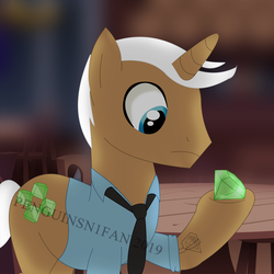 Size: 1500x1500   Tagged: safe, artist:penguinsn1fan, mochaccino, rare find, pony, clothes, diamond, shirt, solo, watermark