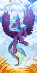 Size: 760x1500 | Tagged: artist:hioshiru, chest fluff, cloud, colored hooves, field, flying, looking up, male, oc, oc only, oc:zolifer, pegasus, pony, safe, solo, spread wings, stallion, wings