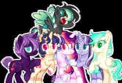 Size: 1024x699   Tagged: safe, artist:manella-art, oc, oc only, oc:aurora twilightshine, oc:green drop, oc:leon, oc:midnight sparkle, oc:moonlight sparkle, oc:neverfree storm, alicorn, pegasus, pony, unicorn, base used, female, half-siblings, magical lesbian spawn, mare, offspring, parent:derpy hooves, parent:flash sentry, parent:fluttershy, parent:princess luna, parent:rainbow dash, parent:tempest shadow, parent:twilight sparkle, parents:derpydash, parents:flashlight, parents:flutterdash, parents:tempestlight, parents:twidash, parents:twiluna, simple background, transparent background