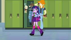 Size: 1920x1080 | Tagged: safe, screencap, twilight sparkle, valhallen, alicorn, dog, equestria girls, equestria girls (movie), background human, backpack, clothes, drink, female, leg warmers, lockers, male, pants, pleated skirt, shoes, skirt, twilight sparkle (alicorn), walking