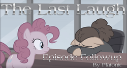 Size: 1500x803 | Tagged: safe, edit, edited screencap, screencap, cheese sandwich, pinkie pie, the last laugh, duo, episode followup, faded, text