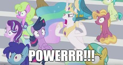 Size: 942x500 | Tagged: safe, edit, edited screencap, screencap, citrine spark, clever musings, cloudburst, daisy, fire flicker, fire quacker, flower wishes, gallus, princess celestia, sandbar, starlight glimmer, twilight sparkle, alicorn, griffon, pony, 2 4 6 greaaat, friendship student, meme, powerrrrrr, traditional royal canterlot voice, twilight sparkle (alicorn)