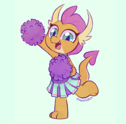 Size: 2065x2040 | Tagged: safe, artist:dawnfire, smolder, dragon, 2 4 6 greaaat, spoiler:s09e15, cheerleader, cheerleader smolder, cute, dragoness, female, smiling, smolderbetes, solo