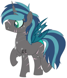 Size: 2563x2971 | Tagged: artist:alina-brony29, artist:tortured-smile0w0, base used, changepony, commission, dog tags, fangs, hybrid, icey-verse, interspecies offspring, male, oc, oc:espion, oc only, offspring, parent:queen chrysalis, parent:shining armor, parents:shining chrysalis, raised hoof, safe, scar, simple background, solo, stallion, tattoo, transparent background
