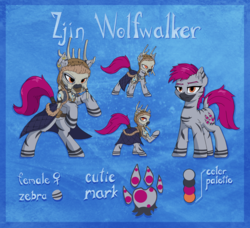 Size: 2800x2552 | Tagged: artist:danli69, clothes, coat, female, lidded eyes, oc, oc:zjin-wolfwalker, quadrupedal, rearing, reference sheet, safe, skull, tail wrap, zebra