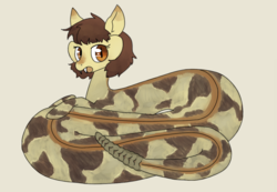 Size: 1190x825 | Tagged: artist:tilling-tan, fangs, lamia, oc, original species, rattlesnake, safe, slit pupils, snake, snake pony