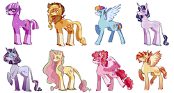 Size: 5610x3004 | Tagged: safe, artist:corporalvortex, part of a set, applejack, fluttershy, pinkie pie, rainbow dash, rarity, starlight glimmer, sunset shimmer, twilight sparkle, classical unicorn, earth pony, pegasus, pony, unicorn, spoiler:g5, alternate color palette, alternate cutie mark, alternate design, alternate hairstyle, applejack (g5), applejack's hat, choker, cloven hooves, coat markings, colored hooves, colored wings, compilation, cowboy hat, curved horn, earth pony twilight, female, fluttershy (g5), g5, glasses, hat, high res, horn, leonine tail, mane six, mane six (g5), mare, pegasus pinkie pie, pinkie pie (g5), race swap, rainbow dash (g5), rarity (g5), redesign, twilight sparkle (g5), unicorn fluttershy, unshorn fetlocks, wings