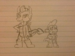 Size: 960x720   Tagged: safe, artist:tarkan809, smolder, spike, dragon, boots, clothes, cosplay, costume, dragoness, drawing, female, jacket, lined paper, male, papyrus (undertale), photo, pose, sans (undertale), scarf, shoes, traditional art, undertale