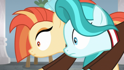 Size: 1920x1080 | Tagged: 2 4 6 greaaat, awkward, cheerleader, duo, earth pony, female, interrupted, lighthoof, mare, out of context, pony, safe, screencap, shimmy shake, shrunken pupils, spoiler:s09e15, stretching, wide eyes