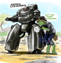 Size: 836x868 | Tagged: safe, artist:the-minuscule-task, oc, oc only, oc:sketch, anthro, robot, unicorn, explicit source, fallout, fallout: new vegas, sentry bot