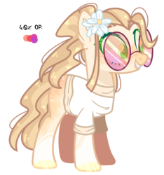 Size: 1800x1924   Tagged: safe, artist:jxst-alexa, oc, oc only, earth pony, pony, clothes, female, flower, flower in hair, mare, shirt, simple background, solo, sunglasses, transparent background