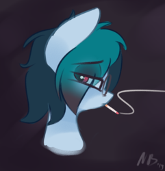 Size: 1168x1210 | Tagged: abstract background, artist:nevobaster, black background, bust, depressed, eye clipping through hair, female, head only, mare, oc, oc:delta vee, pegasus, pony, portrait, safe, simple background, smoking, solo