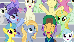 Size: 1920x1080 | Tagged: 2 4 6 greaaat, background pony audience, bleachers, caramel, cloverbelle, cotton cloudy, earth pony, female, filly, friendship student, golden grove, goldy wings, huckleberry, lemon hearts, male, mare, ocarina green, pegasus, pony, rainbowshine, rain dancer, safe, screencap, spoiler:s09e15, stallion, sugar maple, tornado bolt, unicorn, unnamed pony, violet twirl