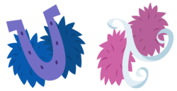 Size: 2620x1357   Tagged: safe, artist:cheezedoodle96, lighthoof, shimmy shake, 2 4 6 greaaat, .svg available, cutie mark, cutie mark only, horseshoes, no pony, pom pom, simple background, svg, transparent background, vector