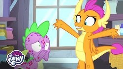 Size: 320x180 | Tagged: safe, artist:hasbro, screencap, smolder, spike, dragon, molt down, congratulations, covering mouth, dragoness, female, male, molting, my little pony logo, picture for breezies, puberty, raised arms, window